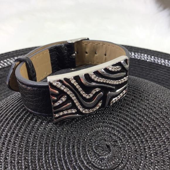 LIA SOPHIA Zebra Pendant Leather Band Bracelet